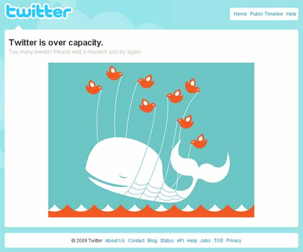 Twitter over capacity message